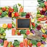 Photo collage Fresh vegetables and fruits. Organic food. Top view stock image