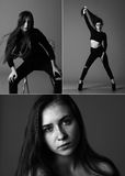 Photo collage of a girl in a studio on a black background. A collage of photos of a beautiful girl in the studio on a black background Stock Image