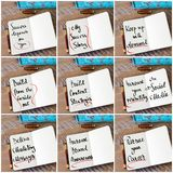 Photo collage of handwritten business motivational messages Stock Image