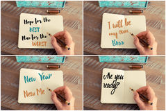 Photo collage of handwritten motivational messages Stock Photography
