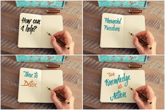 Photo collage of handwritten motivational messages Stock Image