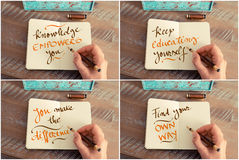 Photo collage of handwritten motivational messages Stock Photo