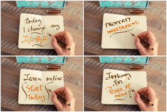 Photo collage of handwritten motivational messages Royalty Free Stock Images