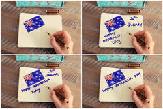 Photo collage with Happy Australia Day and Australian flag Stock Image