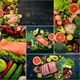 Photo collage Healthy food. Fruits and vegetables. Top view royalty free stock images