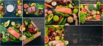 Photo collage Healthy food. Fruits and vegetables. Top view stock photo
