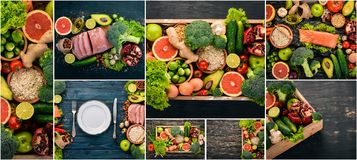 Photo collage Healthy food. Fruits and vegetables. Top view royalty free stock photos
