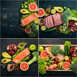Photo collage Healthy food. Fruits and vegetables. Top view stock photos