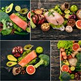 Photo collage Healthy food. Fruits and vegetables. Top view stock image