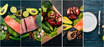 Photo collage Healthy food. Fruits and vegetables. Top view stock photography