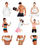 Photo collage of healthy people practicing fitness. Isolated on white background royalty free stock photography