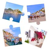 Photo collage with Hydra island photos Greece stock images
