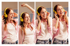 Photo collage of images with young girl listening music wearing headphones. Female at home having fun, listening ad singing her favorite song Royalty Free Stock Images