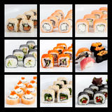 Photo collage of Japanese sushi set on a white bg Stock Photos