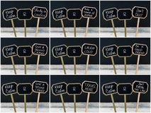 Photo collage of Keep Calm messages written with chalk on mini blackboard labels Stock Photos