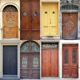 A photo collage l front doors to houses Royalty Free Stock Photography