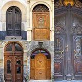 A photo collage l front doors to houses Royalty Free Stock Photos