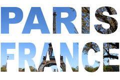 Photo collage letters PARIS with Eiffel Tower.  Royalty Free Stock Photo