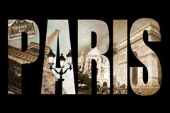 Photo collage letters PARIS, isolated on black background Royalty Free Stock Photography