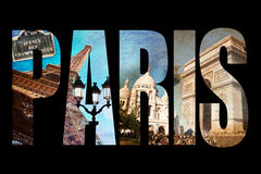Photo collage letters PARIS, isolated on black background Royalty Free Stock Images