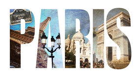 Photo collage letters PARIS Stock Photos