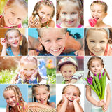 Photo collage of a little girl with a pretty face Royalty Free Stock Images