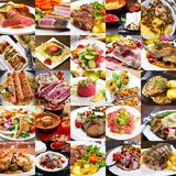 A photo collage of meat dishes of international cuisine Royalty Free Stock Photo
