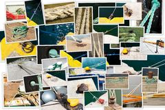 Photo collage of mooring of boats Royalty Free Stock Photos