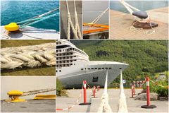 Photo collage of mooring of boats Royalty Free Stock Photo