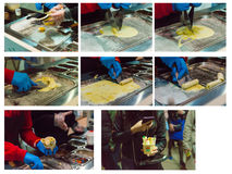 Photo collage of the process of preparing natural ice cream Royalty Free Stock Photography