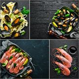 A photo collage of seafood dishes. Top view on black background royalty free stock photography