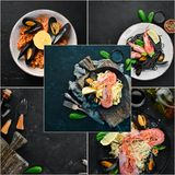 A photo collage of seafood dishes. Top view on black background stock photo