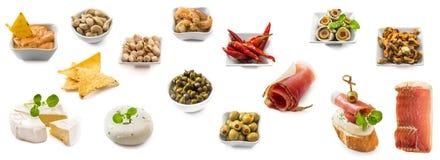 Photo collage of spanish tapas isolated stock photos