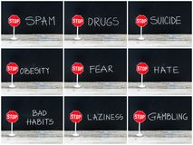 Photo collage of STOP messages written on chalkboard Stock Photos