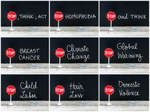 Photo collage of STOP messages written on chalkboard Stock Photography