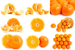 Photo collage of tangerines stock images