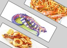 Photo collage with traditional mediterranean seafood - octopus - pasta with shrimps - squid Stock Images