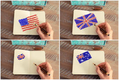 Photo collage with United States, Australia and United Kingdom flags Stock Photo