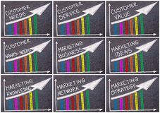 Photo collage of various business messages written over colorful graph and rising arrow Royalty Free Stock Image