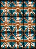 Photo collage of various Keep Calm Messages Stock Images