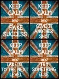 Photo collage of various Keep Calm Messages Royalty Free Stock Photography