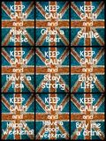 Photo collage of various Keep Calm Messages Royalty Free Stock Images