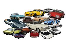 A photo collage of vintage, classic and collectible cars royalty free stock photography
