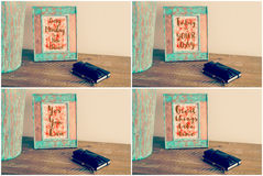 Photo collage of Vintage photo frames with motivational messages royalty free stock image