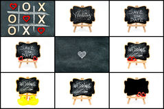 Photo collage of wedding symbols Royalty Free Stock Photos