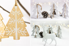 Photo collage, white Christmas decoration, handmade ornaments, wood fir trees, pine cones, reindeer, bokeh lights, scandinavian. Nordic style Stock Image