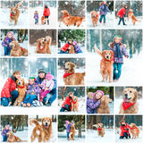 Photo collage of winter walks. With children and a dog Stock Photos