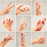 Photo collage of a woman's hands Royalty Free Stock Images