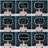 Photo collage of wooden mini blackboard labels on the theme Back To School Stock Images