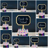 Photo collage of wooden mini blackboard labels on the theme Back To School Stock Photos